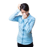 Asia woman sneeze isolated Royalty Free Stock Images