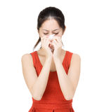 Asia woman sneeze Stock Photo