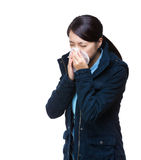 Asia woman sneeze Stock Image