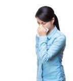 Asia woman sneeze. Isolated on white Stock Photos