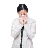 Asia woman sneeze Royalty Free Stock Images