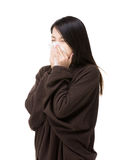 Asia woman sneeze Royalty Free Stock Image