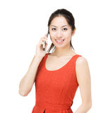 Asia woman talking to phone Stock Images