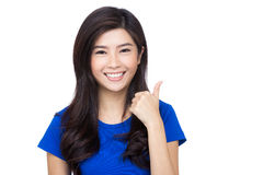 Asia woman thumb up Royalty Free Stock Photography