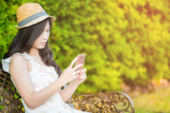 Asia woman use smartphone Royalty Free Stock Images