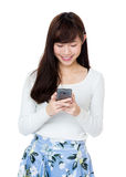 Asia woman using mobile Stock Photo