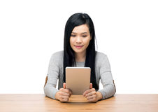 Asia woman using tablet Royalty Free Stock Photos
