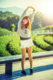 Asia woman on view point at Tea garden chuifong Thailand. Portrait of Asia beautiful woman on view point at Tea garden chuifong Thailand stock photography