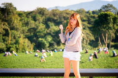 Asia woman on view point at Tea garden chuifong Thailand. Portrait of Asia beautiful woman on view point at Tea garden chuifong Thailand stock photo