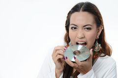 Asia women eating Data Disc Stock Images