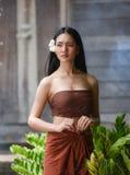 Asia women. Portrait of Beautiful thai woman wear thai dress Royalty Free Stock Images