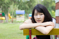 Asia women thai teen relax On Park Stock Images