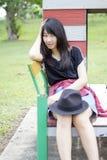 Asia women thai teen relax On Park Stock Image