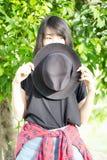 Asia women thai teen relax On Park Stock Photo