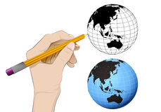 Asia world globe as isolated human hand drawing vector. Illustration Stock Photo