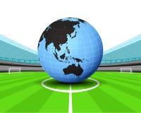 Asia world globe in the midfield of football stadium vector Stock Photography