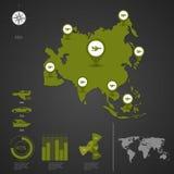ASIA. World Map. Stock Photo