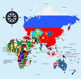 Asia y Australia con nombres del país y de la ciudad Fotografía de archivo