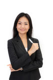 Asia young business woman. Isolated white background Royalty Free Stock Photography