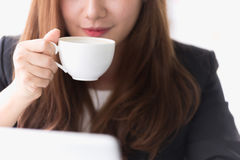 Asia young business woman in a cafe Stock Photo