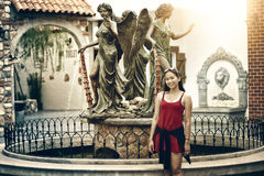 Asia young girl posing on background of city royalty free stock photos