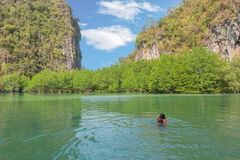 Asia Young lady snorkeling in Tropical beach scenery, Andaman se Stock Images