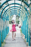 Asia young pretty girl in park stock images