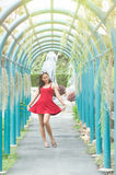 Asia young pretty girl in park stock photography