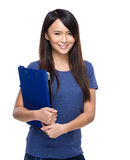 Asia young woman with chip board Stock Photos