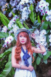 Asia young women with colorful flower in garden Royalty Free Stock Photography