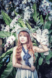 Asia young women with colorful flower in garden Royalty Free Stock Photo