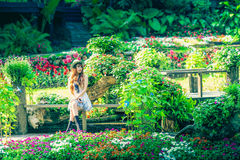 Asia young women sitting in colorful flower garden Royalty Free Stock Photo