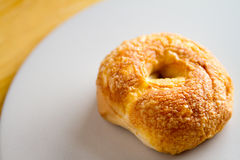 Asiago & Cheddar Cheese Bakery Fresh Bagel Royalty Free Stock Photo