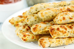 Asiago Cheese Breadsticks and Dip Royalty Free Stock Photography