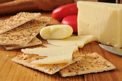 Asiago and gouda cheeses Royalty Free Stock Images