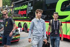 Asiago, Italië 27 Mei, 2017: Formolo Davide, Cannondale-Team, ontmoette zijn ventilators na een taai bergstadium royalty-vrije stock fotografie