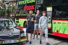 Asiago, Italië 27 Mei, 2017: Formolo Davide, Cannondale-Team, ontmoette zijn ventilators na een taai bergstadium royalty-vrije stock foto's