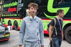Asiago, Italië 27 Mei, 2017: Formolo Davide, Cannondale-Team, ontmoette zijn ventilators na een taai bergstadium stock afbeelding