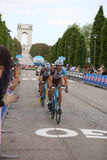 Asiago VI, Italien - Maj 27, 2017: Cyklister under de cykla rommarna Royaltyfria Bilder