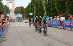 Asiago, VI, Italy - May 27, 2017: Cyclists during the cycling ra. Ce 100th Giro d`Italia Stage 20.Cyclists:Cataldo,Battaglin,Formolo,Landa,Amador Final Sprint Stock Photos