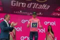 Asiago, Włochy Maj 27, 2017: Nairo Quintana w różowym bydle na podium, Zdjęcia Royalty Free