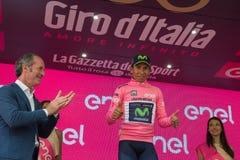 Asiago, Włochy Maj 27, 2017: Nairo Quintana w różowym bydle na podium, Obrazy Stock
