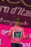 Asiago, Włochy Maj 27, 2017: Nairo Quintana w różowym bydle na podium, Obraz Stock