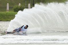 Asian 2011 Waterski Competition. Putrajaya, Malaysia - October 6: Putu Mohammad Zahidi from Indonesia at open category slalom preliminary stage during 2011 IWWF Royalty Free Stock Image