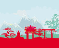 Asian abstract landscape. Illustration Royalty Free Stock Photography