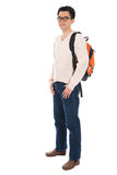 Asian adult student with schoolbag Royalty Free Stock Photos