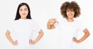 Asian and african american women in blank white t shirt isolated on white background. Multi ethnic and multination concept. Set. Of template summer clothes stock image