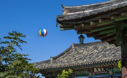 Asian air balloon and roof detail Royalty Free Stock Image