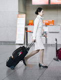 Asian air flight hostess in Incheon International airport Royalty Free Stock Photo