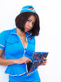 Asian air hostess checks her wallet Stock Images